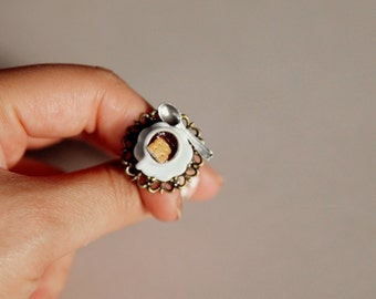 Hot Coffee Ring with a Biscuit  / Teacup Ring / Cup Ring / Plate / Polymer Clay ring / Coffee Ring / Handmade / Food jewelry