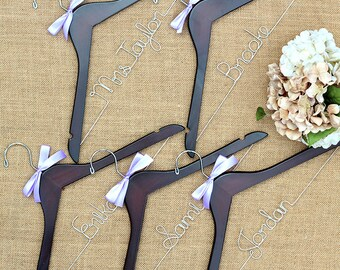 Set of 5 Personalized Bridal Hangers, Bride Hanger, Bridal Hanger, Wedding Hanger, Mrs Hanger, Bridesmaid Gift