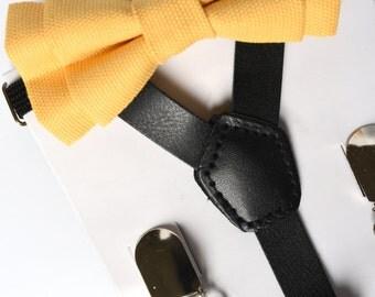 SUSPENDER & BOWTIE SET.  Newborn - Adult sizes. Black pu leather suspenders. Yellow Bow tie