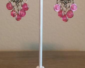 LEGO Brick Chandelier Earrings, Heart