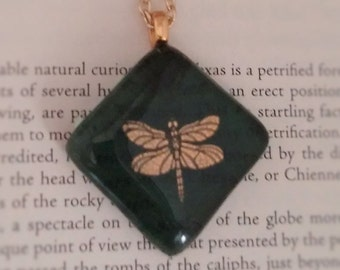 Green and Gold Fused Glass Dragonfly Diamond Pendant