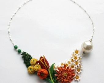 Flowery necklace, Dahlia, Tulip, Camomiles, Buttercup, and Pomponettes OOAK