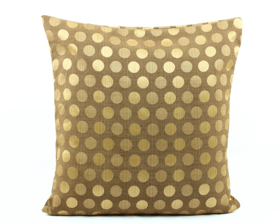 Gold Brown Throw Pillows : Brown Gold Silk Pillow 20x20 Decorative throw by Fabricasia