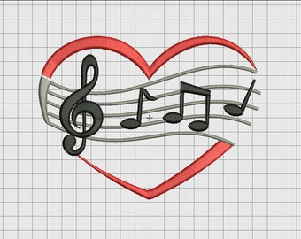 Heart Music Score Note Embroidery Design in 3x3 4x4 5x5 and 6x6 Sizes
