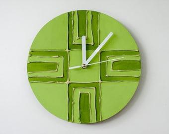 Hipster Clock, Retro GREEN WALL CLOCK, Green Clock, Unique Wall clock, Modern Wall Clock, Green Home Decor