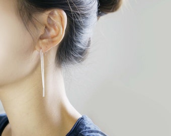 Simple Line Threader Earrings/ 925 Sterling Silver / Dainty Earrings