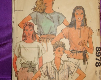 1980s 80s Vintage Fenn Wright n Manson Loose Fit Short Sleeve Blouse Top 4 Vws COMPLETE McCalls Designer Pattern 8978 Bust 36 Inch 92 Metric