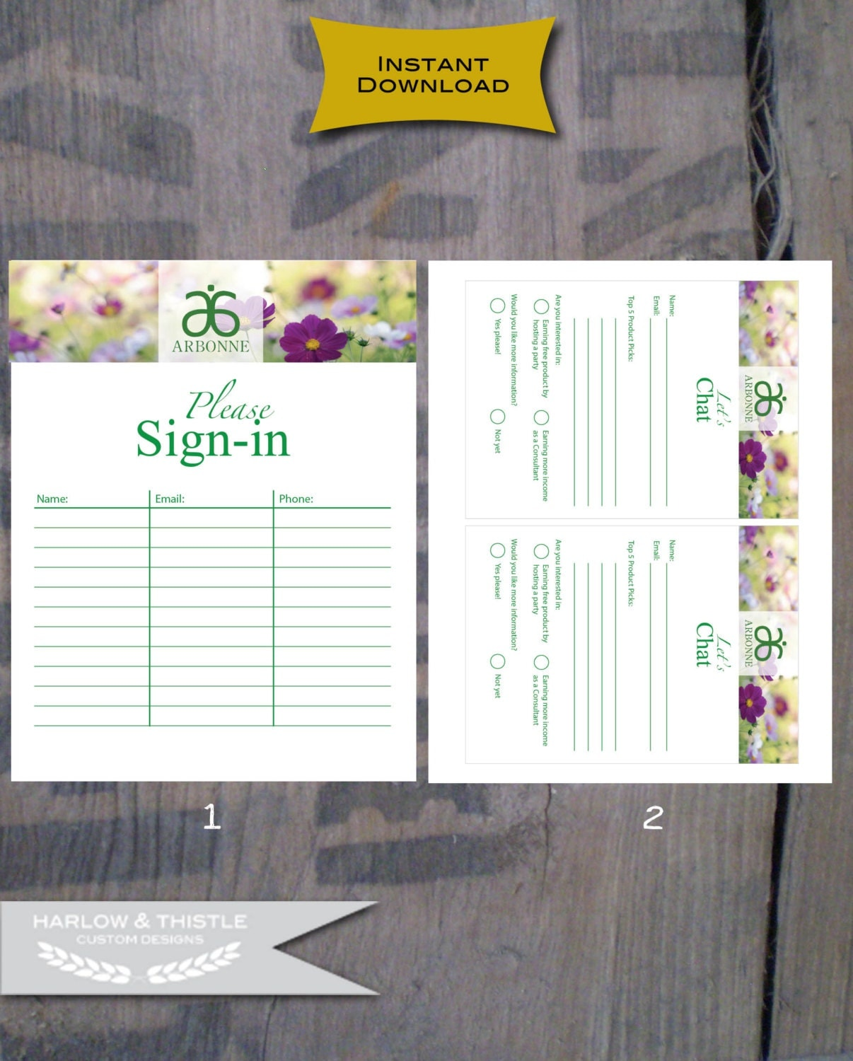 INSTANT DOWNLOAD Printable Arbonne Party items Sign-in