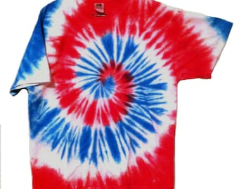 Patriotic Tie Dye Shirt - Red, White, and Blue Spiral - For Men and Women