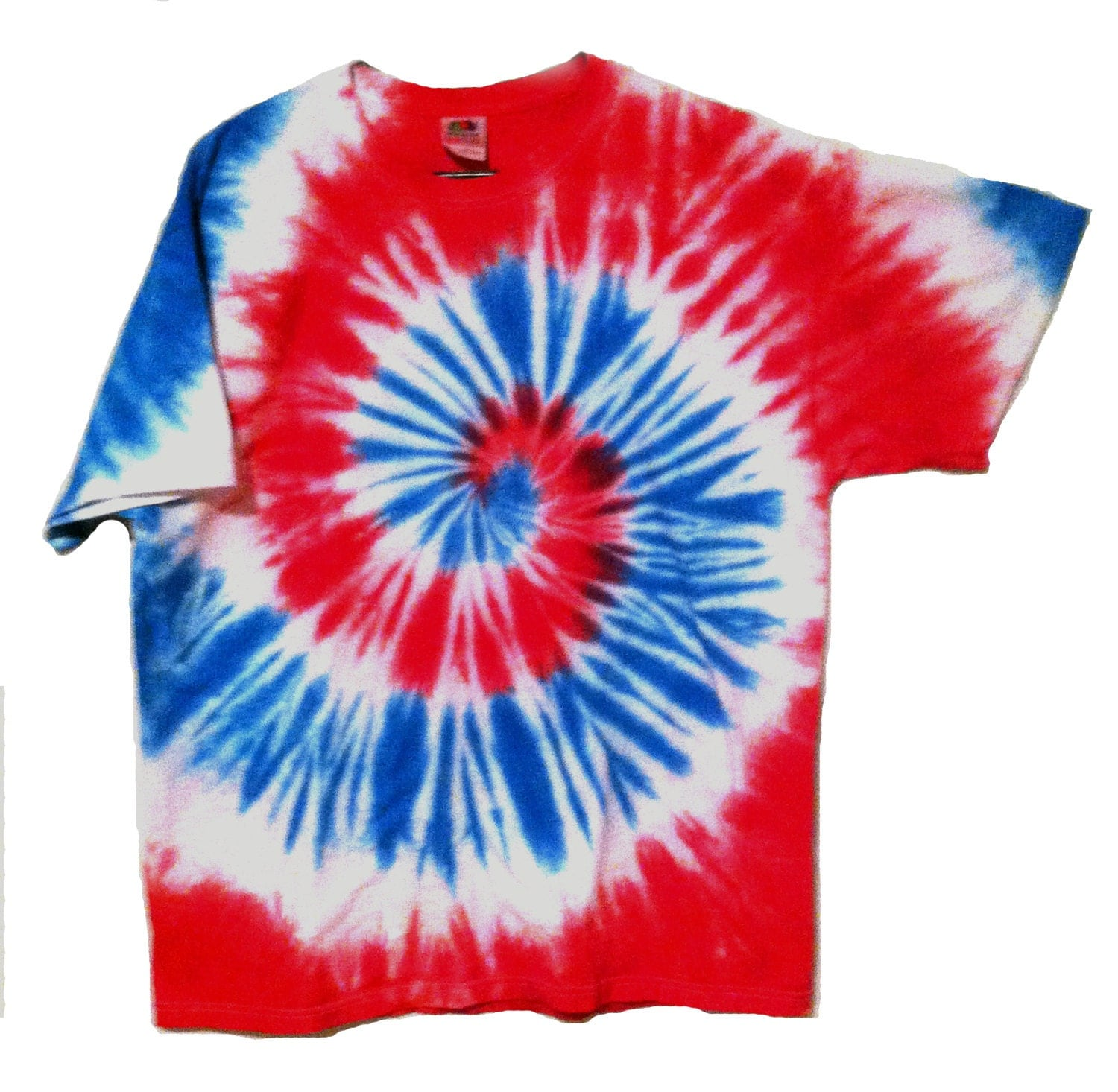 Patriotic tie dye shirt red white and blue spiral for for How to dye a shirt red
