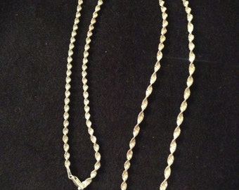"""Vintage 30"""" Sterling Silver Twisted Chain Necklace"""