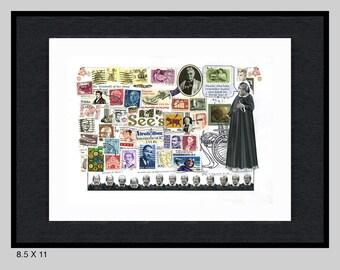 Original, framed Jonathan Winters, Maude Frickert Alzheimers extended stamp portrait by Dave Woodman
