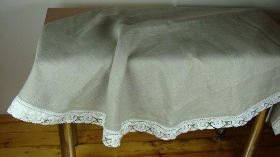 100 lin nappe gris taupe avec dentelle par linenfromlithuania. Black Bedroom Furniture Sets. Home Design Ideas