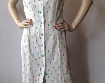 Vintage 60's  French Printed Coton Summer Dress lined with organza