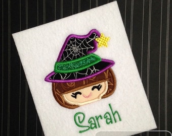 Witch 71 Applique embroidery Design - Halloween appliqué design - witch appliqué design - girl appliqué design