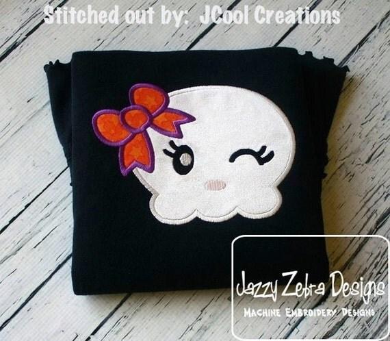 Girl Skull 71 Appliqué embroidery Design - Halloween Appliqué Design - girl Appliqué Design - skull Applique Design