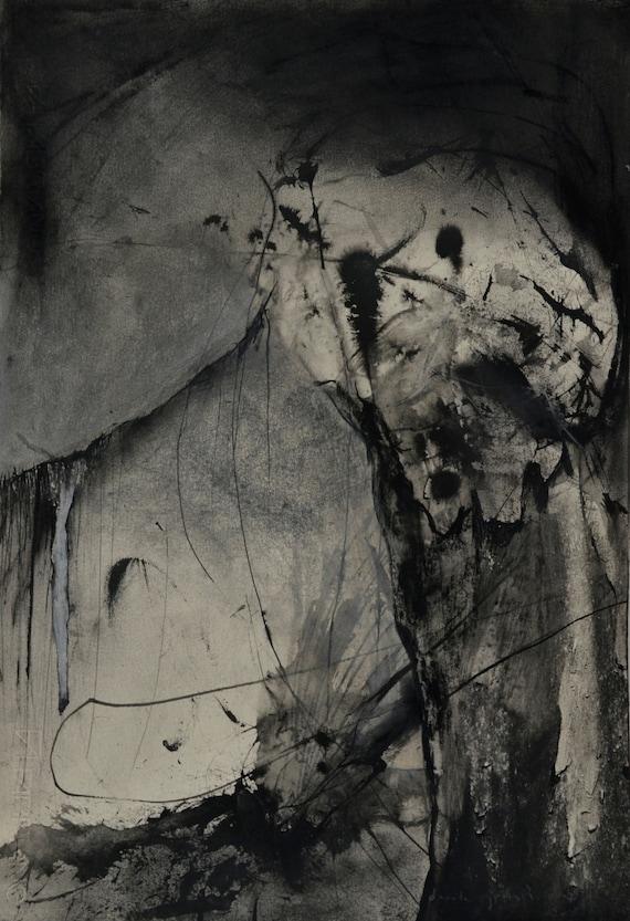 abstrait dessin au fusain fusain et encre sur papier art