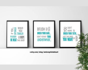 kids bathroom art decor bathroom artwork printable art print instant download bathroom rules wall quote sign