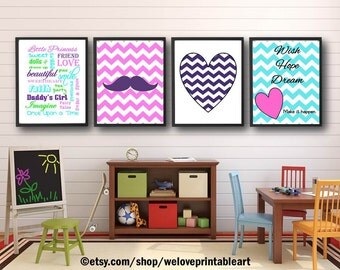 Baby Girl Nursery Decor, Girls Room Decor, Girls Wall Art, Chevron Wall Decor, Girls Room Art, Quote Posters, Baby Girl Nursery Art,  Prints