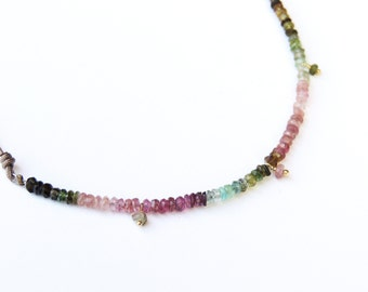 Multicolor Tourmaline necklace with 3 stones
