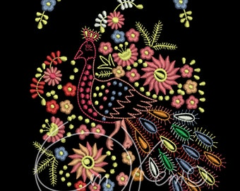 MACHINE EMBROIDERY DESIGN - Mexican peacock, the day of the dead, calavera, dia de los muertos