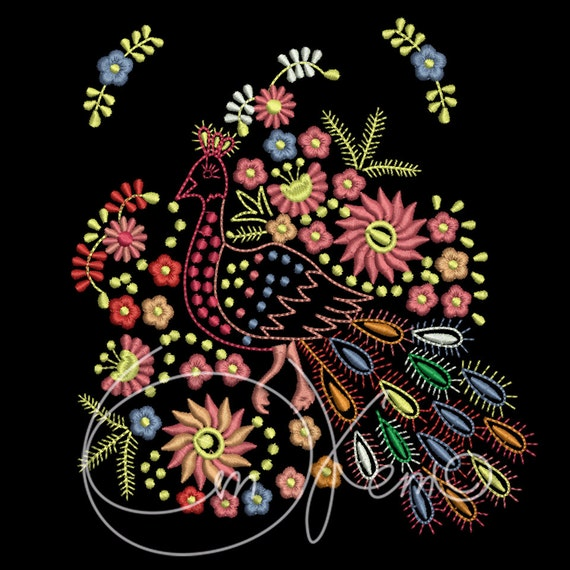 Machine embroidery design mexican peacock the day of