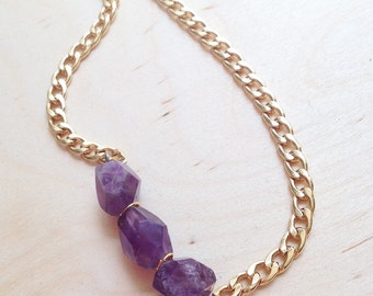 Amethyst Gold Chunky Chain Necklace