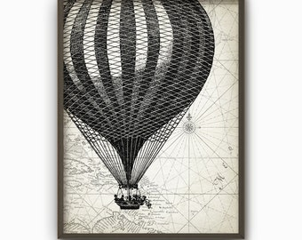 Hot Air Balloon Wall Art Poster