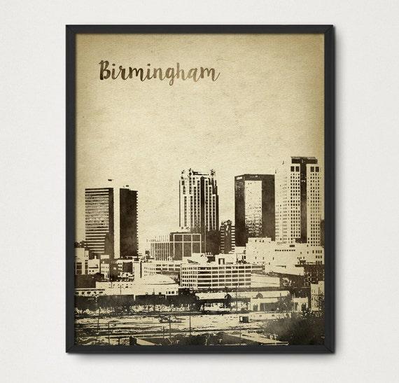 Items similar to birmingham alabama watercolor wall art for Craft stores birmingham al
