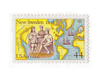 1988 44c Airmail New Sweden -10 Unused Vintage Postage Stamps -  Item No. C117