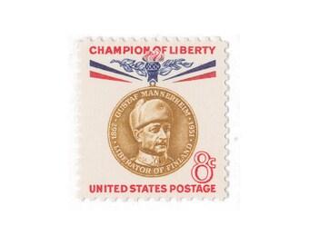 SALE 25 Unused Vintage Postage Stamps - 1960 8c Champion of Liberty - Gustaf Mannerheim - Item No. 1166