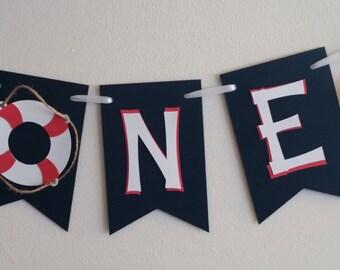 ANCHOR One Banner, Highchair banner, Happy Birthday Banner, Anchor Theme, Nautical Birthday, First Birthday Banner, Under the Sea Birthday