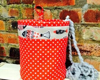 FISH REVERSIBLE PROJECT Bag Knitting Crochet Yarn Wool Holder Scandinavian Nordic Linen Cotton Polka Dot Fabric Retro Handmade Gift