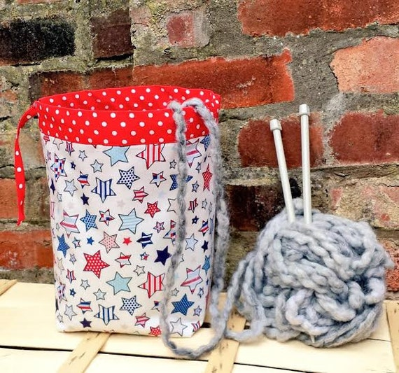 Crochet Project Bag : DRAWSTRING Knitting Bag Crochet Project Bag Red POLKA STARS Storage ...