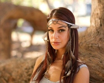 Bohemian feather headpiece, gold, bronze, silver, gunmetal chain headband, festival feather hippie headpiece, gypsy headdress jewellery
