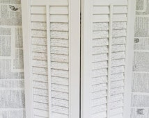 French country white shutters, white wood shutters, country shutters, painted shutters, French country decor, pair of white shutters
