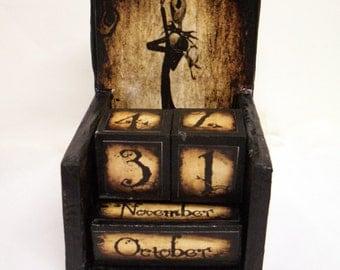 Jack Skellington inspired wooden perpetual calendar-vintage, halloween, samhain, Tim Burton inspired home decore--hand made
