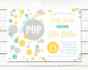 She's Ready to Pop, Baby Shower Invitation, Yellow, Gray, Green