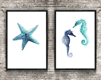 Set of 2, Starfish & Seahorse, Watercolor Minimalist Painting, Sealife Home Decor, Oceanic Creatures Poster, Blue Nautical Art Prints