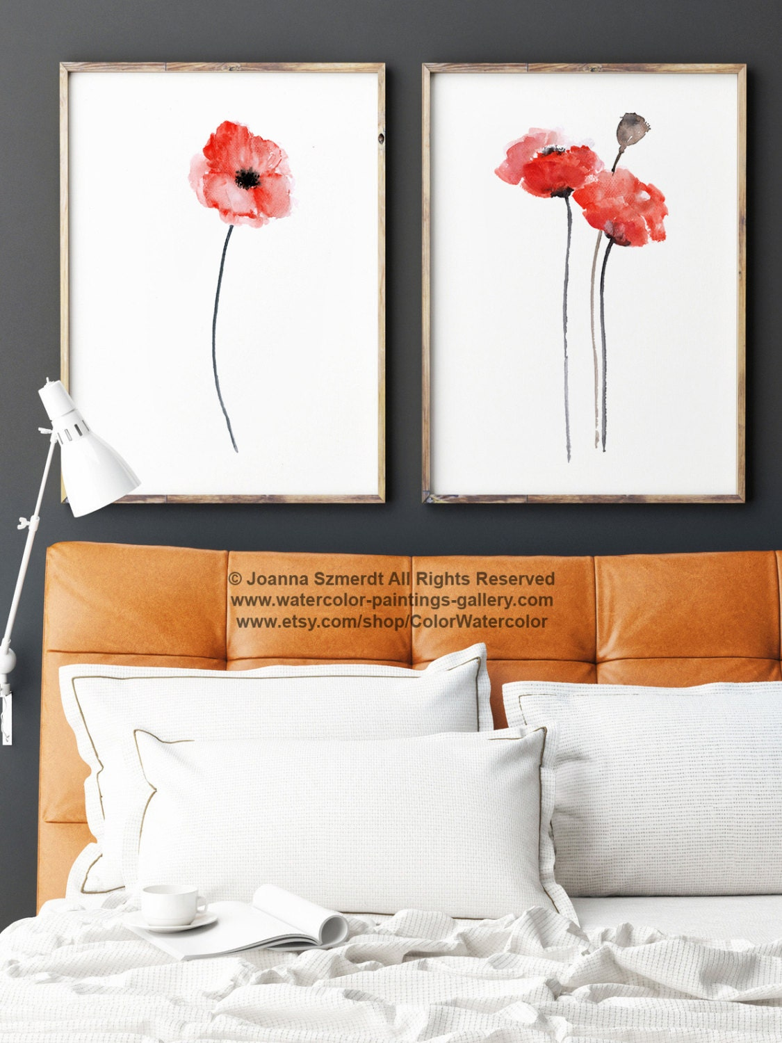 Red Poppy Wall Decor : Red poppy watercolor wall art print floral home
