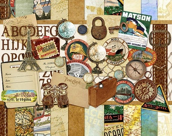 Well Traveled Digital Scrapbooking Kit  - Vintage Summer,  Holiday, Vacation, globe, passport, digital papers, old maps INSTANT DOWNLOAD