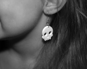 White Skull Earrings - Laser Cut UK