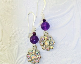 Bridesmaids Gemstone Earrings,  Purple Russican Amethyst Gemstones, Sparkling AB Crystal Drops, Bridal Jewelry, Wedding Accessories