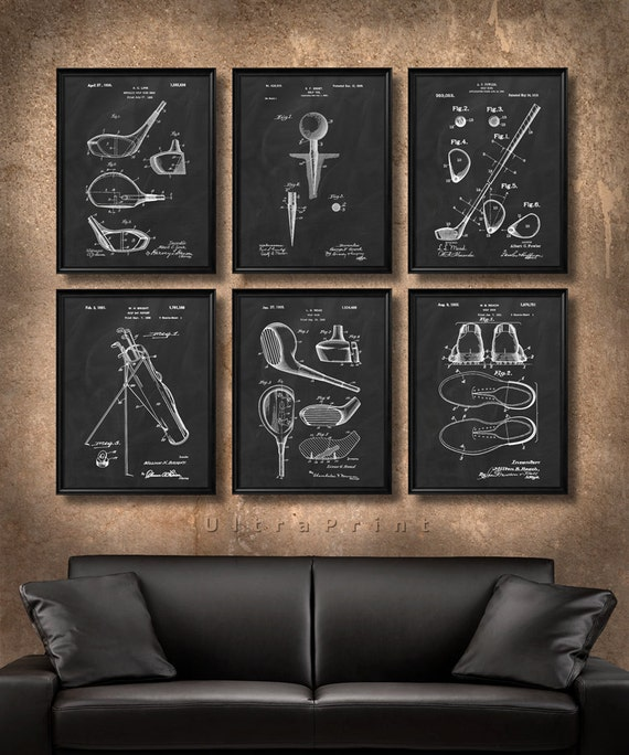 SET Of 6 GOLF Vintage Art Print Or Canvas Patent Wall Art