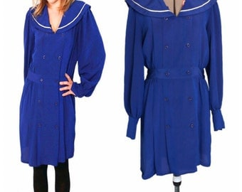 Vintage 1970s Royal Blue Sailor Collar Shirt Dress Size M