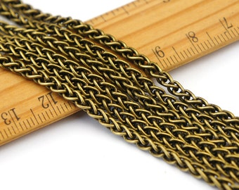 3.5mm Antique Bronze Plated Vintage Style Wheat Chain Rope Wire Chain rc248b(4ft)