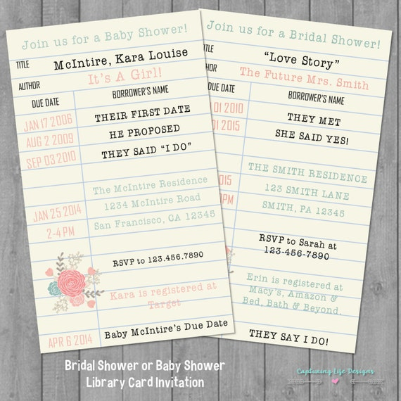 Items similar to Library Card Invitation | Library Card Baby ...
