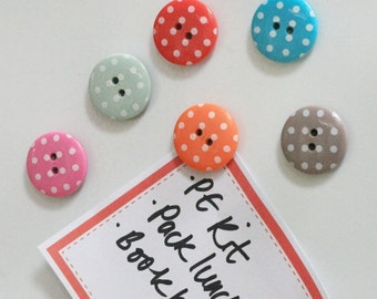 Rosie button magnets. Beautiful polka dot spot button magnets x 6.