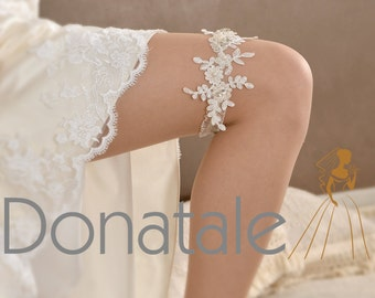 Bridal Garter -Wedding Garter-   Flower  Garter- Ivory Garter-  Lace Garter- Wedding Accessories Vintage  -  ABIGAIL