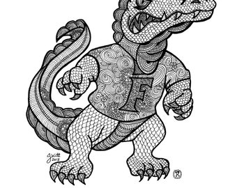 Zentangle of Florida Gators University of Florida, Old School Logo, Albert